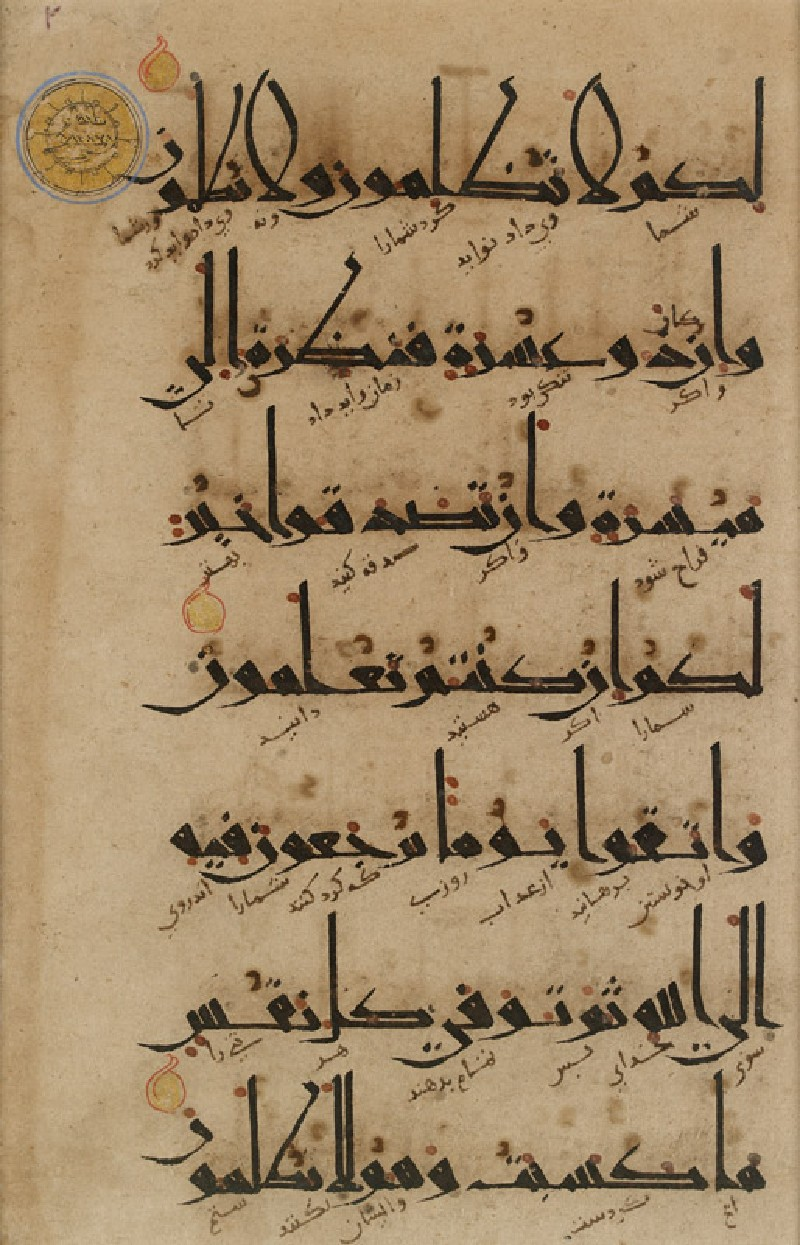 Page from a Qur'an in eastern kufic script and with Persian translation in naskhi script (front           )