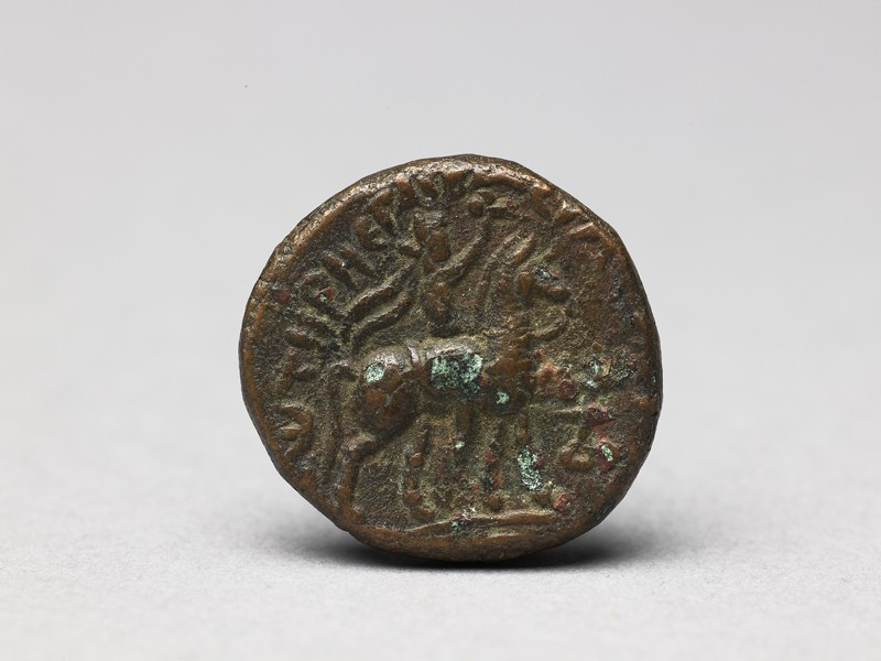 Coin with man on horseback on the obverse and crowned man on the reverse