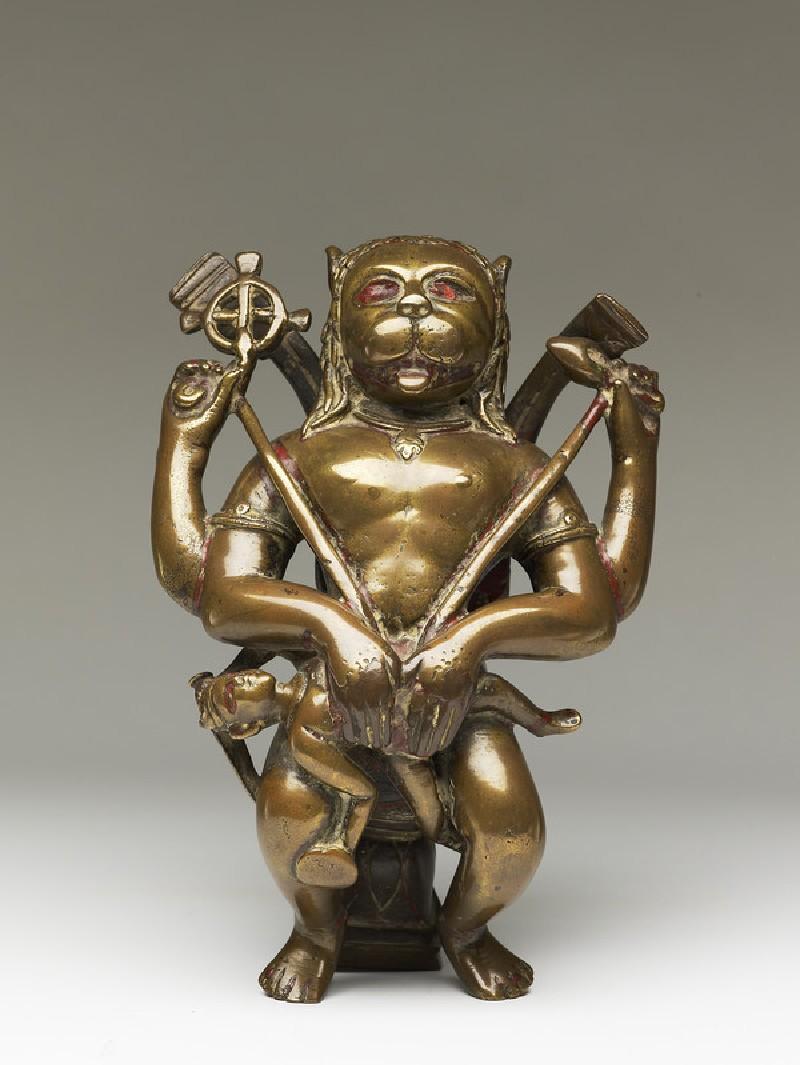 Figure of Narasimha eviscerating Hiranyakashipu (EA2013.92, front           )