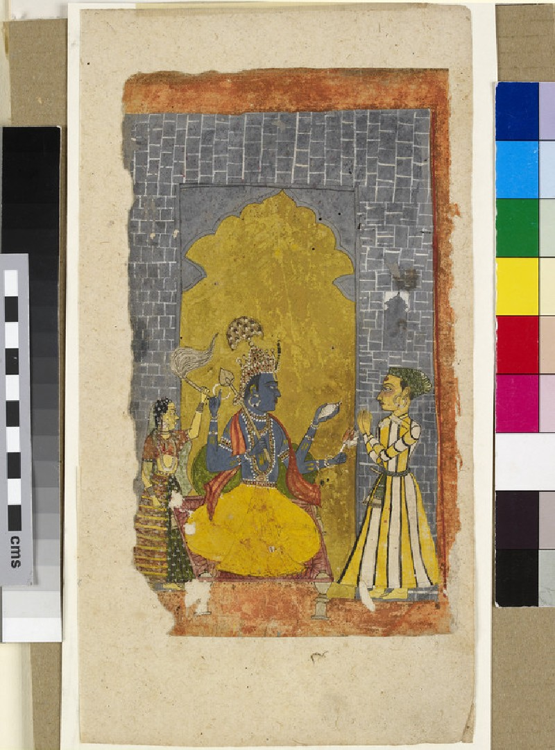 Vishnu enthroned with princely devotee standing before him, or Krishna appearing as the four-armed Vishnu (EA2014.74)