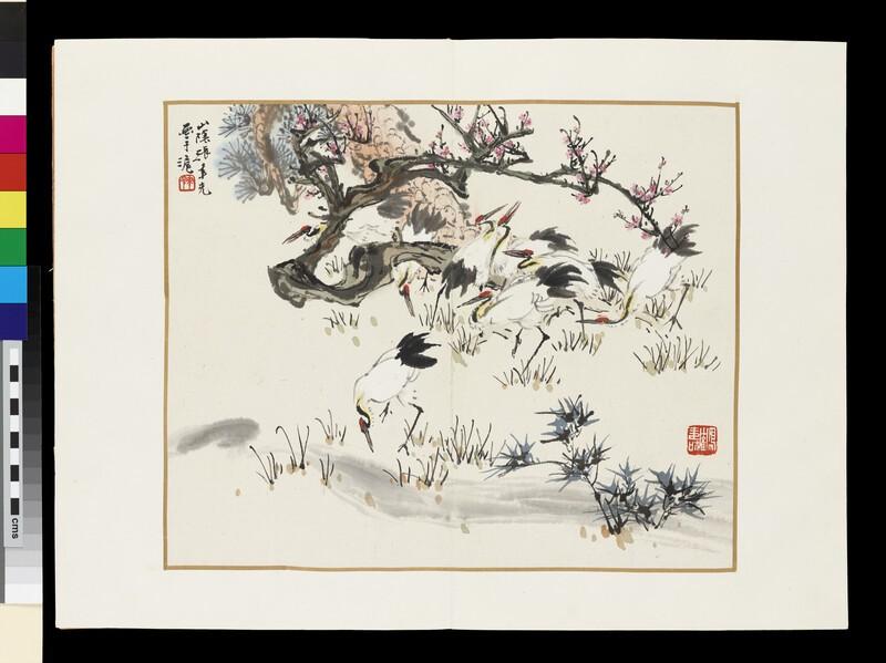 Birds by a stream
