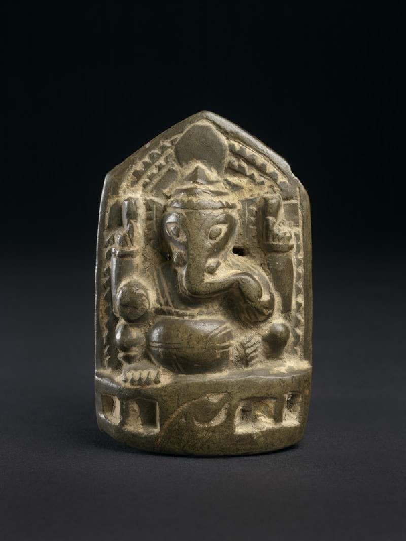 Relief plaque of seated Ganesha