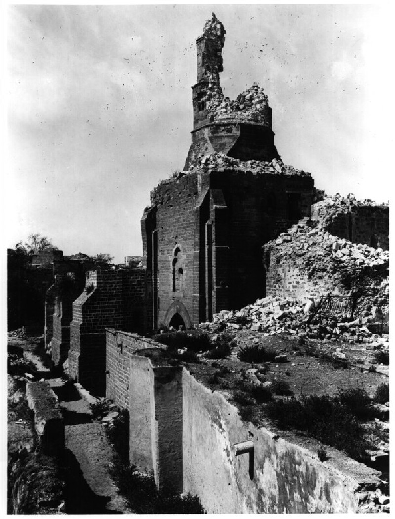 Great Mosque of Gaza (former church), following bombardment of 1916-7