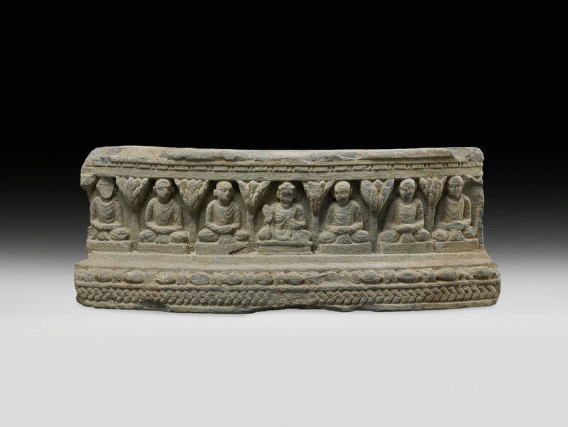 Fragemented frieze depicting the Buddha with six monks (EAOS.11)