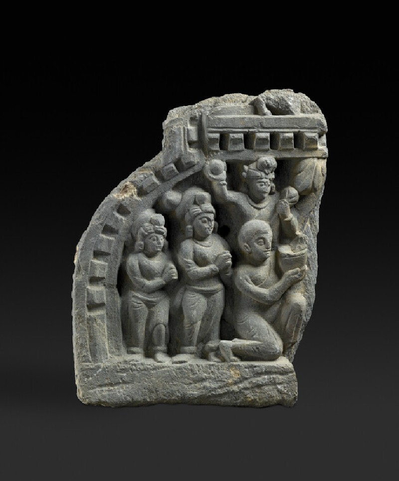 Fragment of a false gable with worshippers