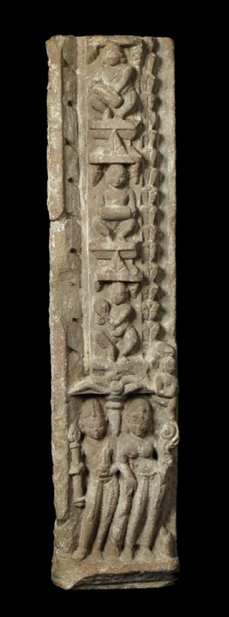 Part of a door jamb with musicians and figures, possibly gods