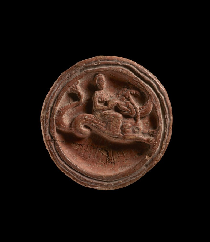 Tray depicting Nereid riding a sea monster (EAX.260)