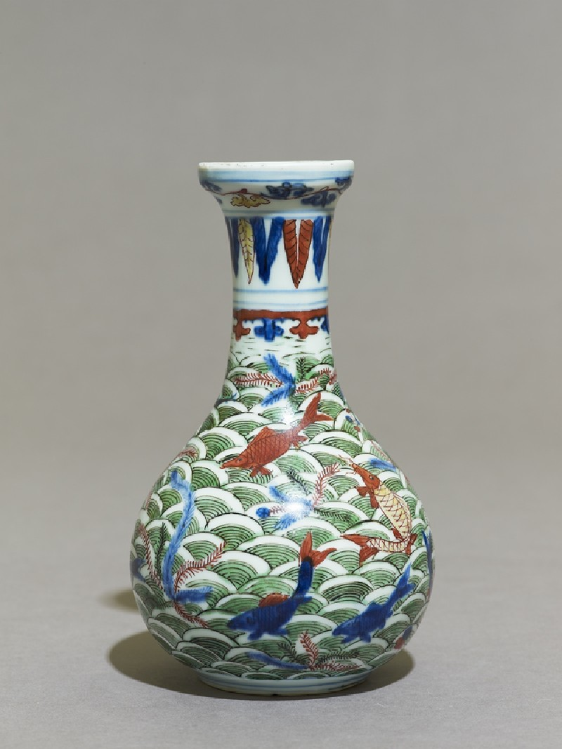 Wucai ware vase with fish amid waves (EAX.1191, side          )