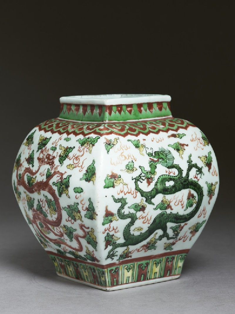 Square vase with overglaze enamel decoration (EAX.1192, side          )