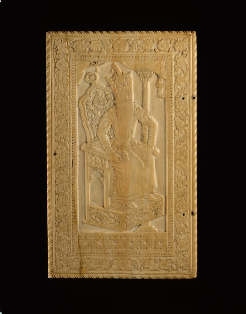 Mirror case depicting Fath 'Ali Shah, with poem describing his radiance