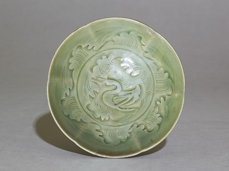 Greenware bowl with ducks amid waves (EAX.1265, top          )