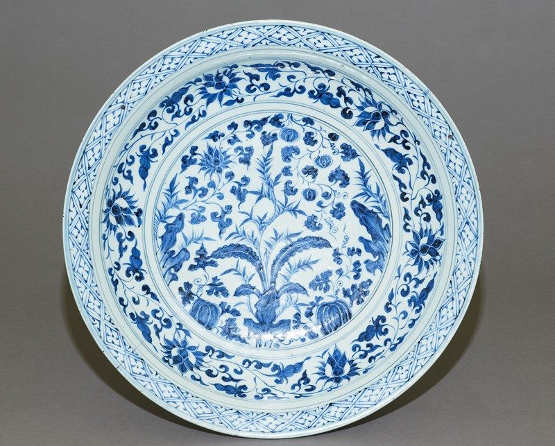 Blue-and-white dish with plants