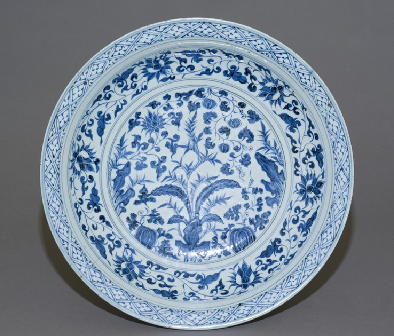 Blue-and-white dish with plants (EAX.1388)