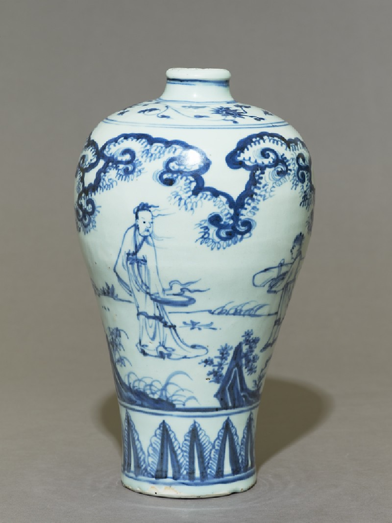 Blue-and-white meiping, or plum blossom, vase (side          )