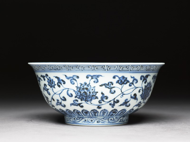 Blue-and-white bowl with lotus scrolls (EAX.1409, side          )