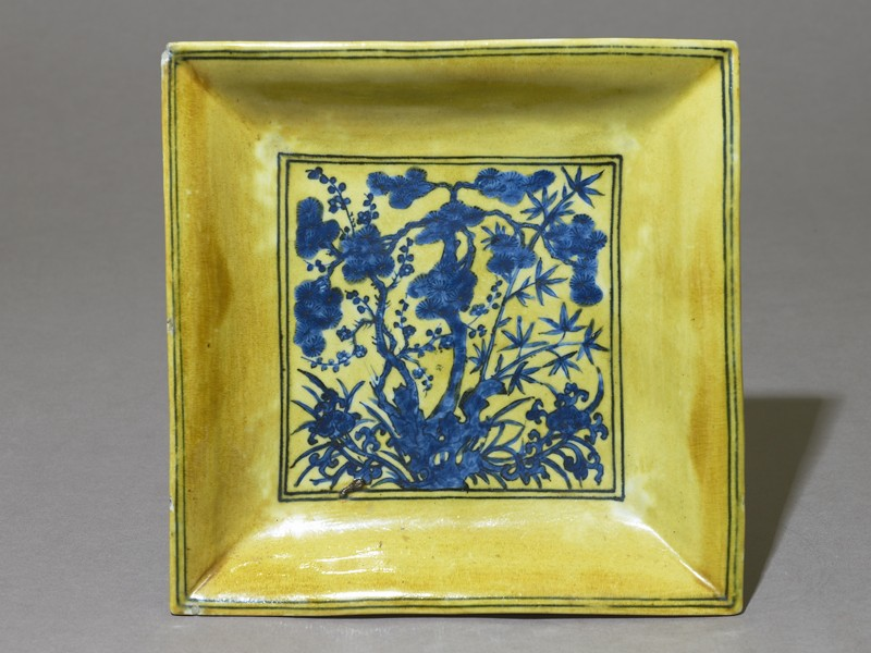 Square dish with flowers (EAX.1418, top          )