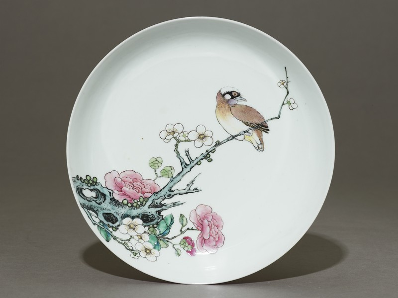 Dish with a bird on a branch (EAX.1524, top          )