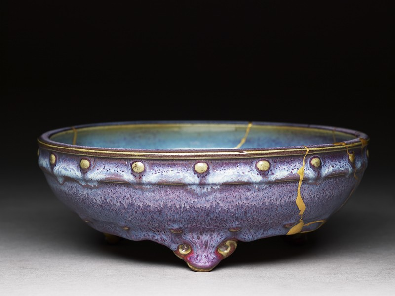 Bulb bowl with purple and blue glazes (oblique          )