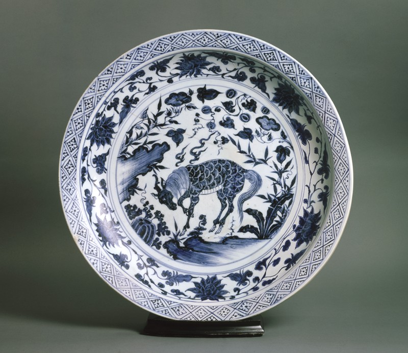Blue-and-white dish with a kylin, or horned creature (top          )