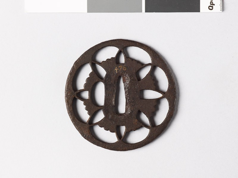 Tsuba with floral device of overlapping petals