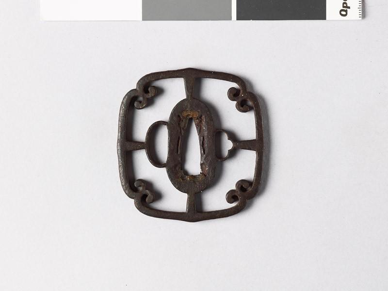 Mokkō-shaped tsuba with scrolls