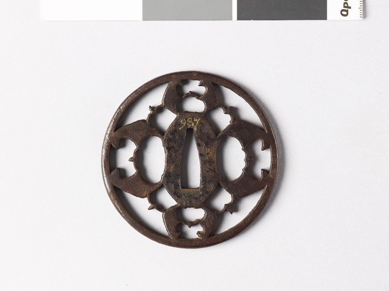 Round tsuba with myōga, or ginger shoots, and karigane, or flying geese (EAX.10012, front           )