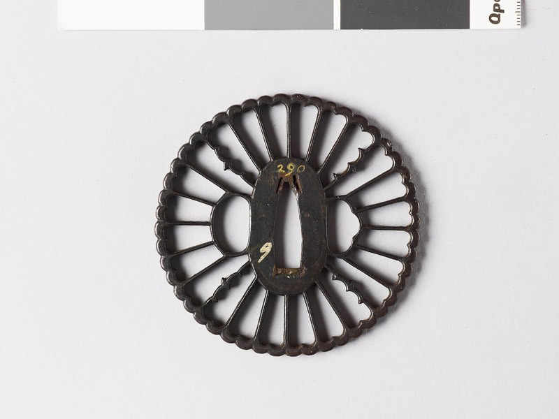 Tsuba with chrysanthemum florets and karigane, or flying geese (EAX.10044, front           )