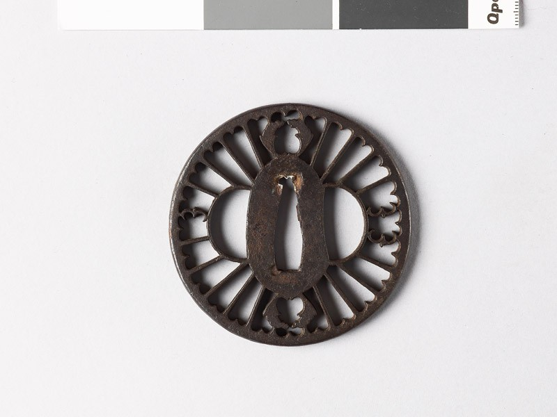 Round tsuba with myōga, or ginger shoots, and flying geese, or karigane (EAX.10045, front           )