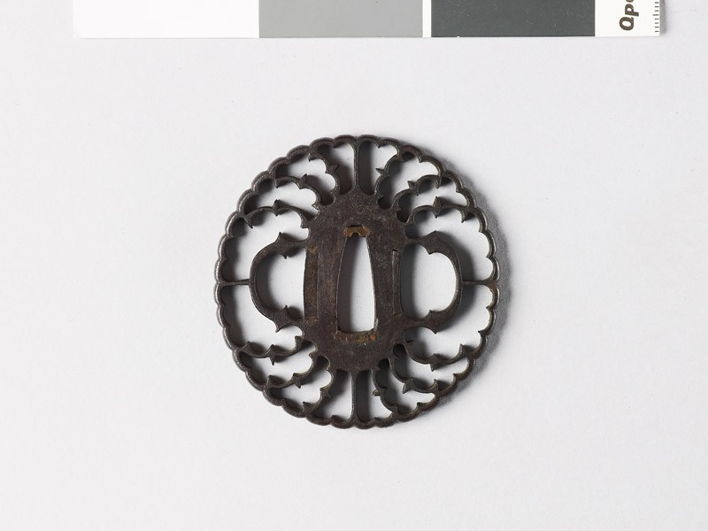 Tsuba in the form of a flower with myōga, or ginger shoots, and karigane, or flying geese (EAX.10047, front           )