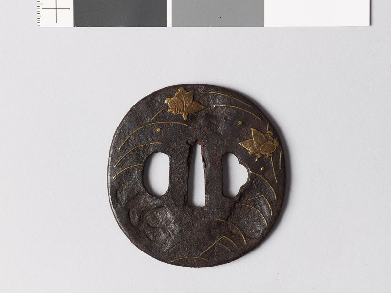 Tsuba with grasses and butterflies