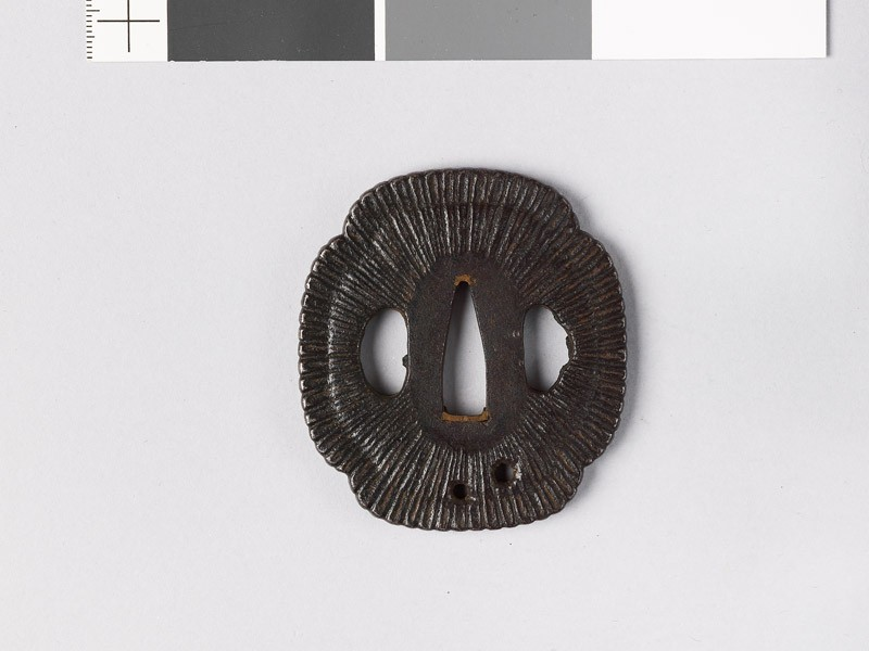 Mokkō-shaped tsuba with chrysanthemum florets (EAX.10075, front           )