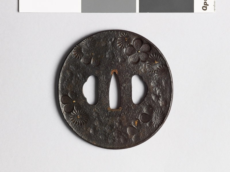 Tsuba with chrysanthemum and plum blossoms (EAX.10093, front           )