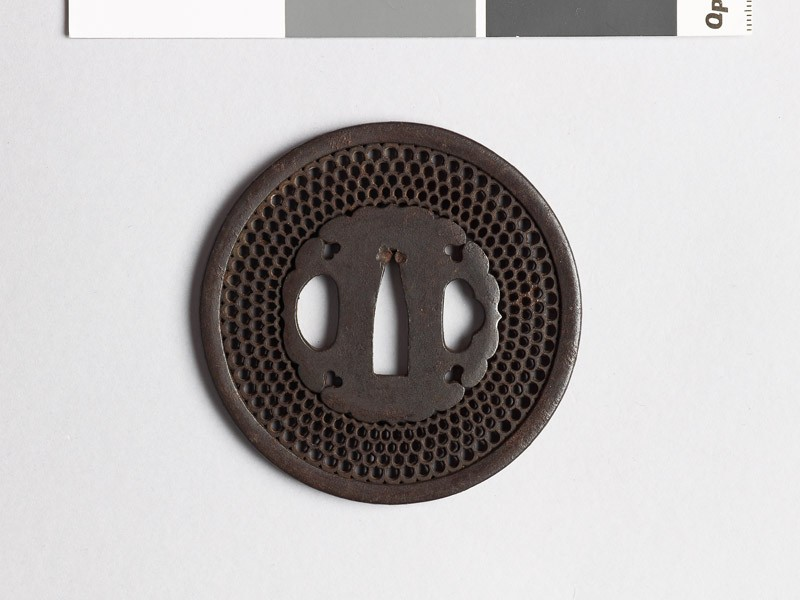 Round tsuba with aoi, or wild ginger, or snow heaps (EAX.10104, front           )
