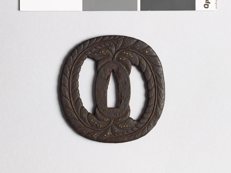 Tsuba with wisteria and dewdrops (EAX.10106, front           )
