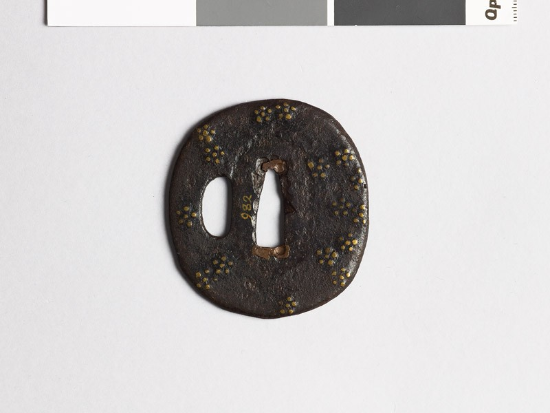 Tsuba with scattered plum-blossoms (EAX.10106.a, front             )
