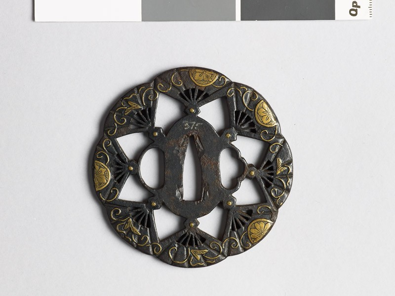 Lobed tsuba with flowers and fans (EAX.10114, front           )