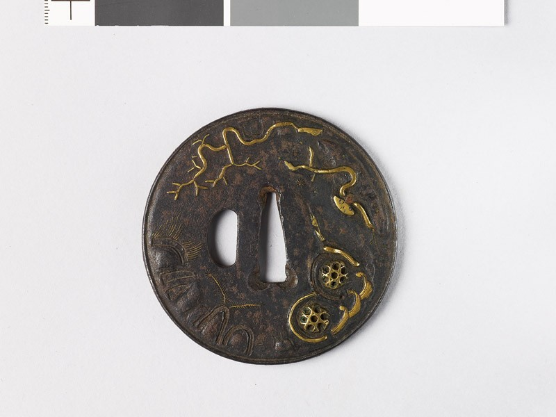 Round tsuba with landscape and plants (EAX.10115.a, front             )