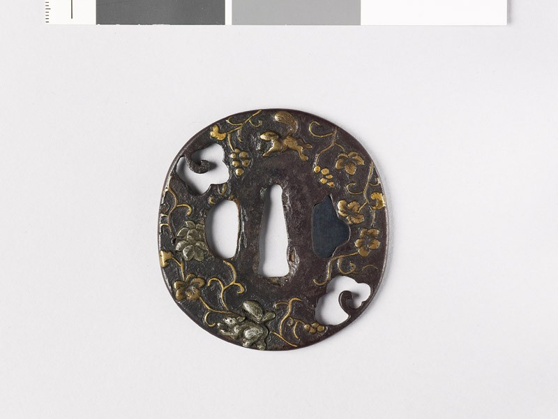 Tsuba with squirrels and a vine (EAX.10128, front           )
