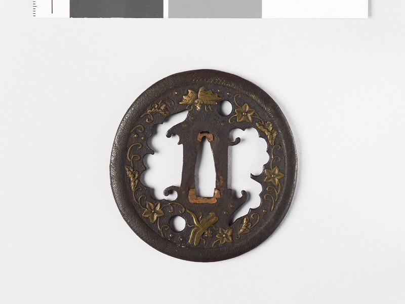 Tsuba with plants and animals