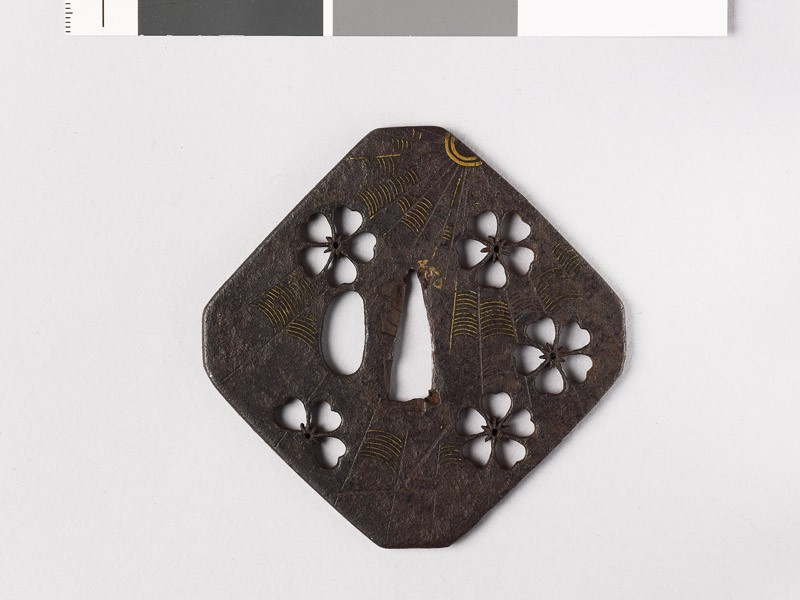 Tsuba with cherry blossoms and a cobweb (front           )