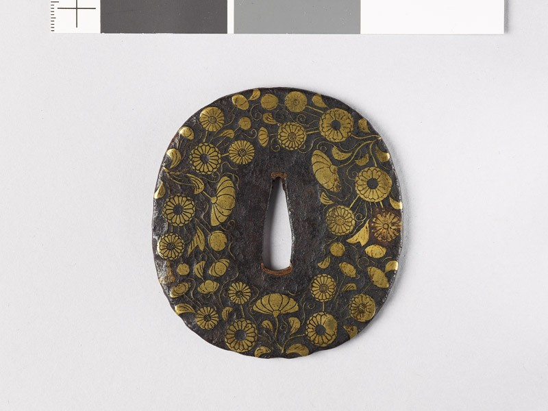 Tsuba with chrysanthemum sprays