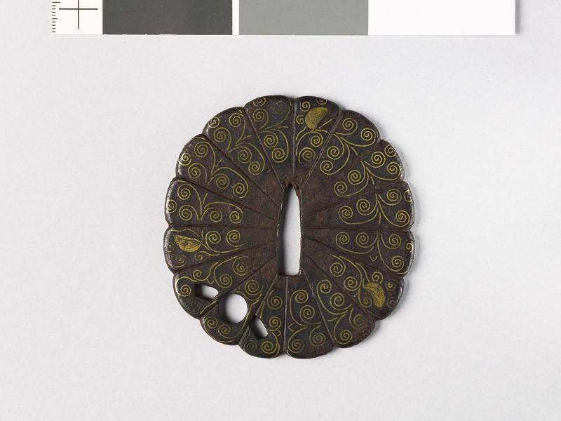 Tsuba with florets (EAX.10153, front           )