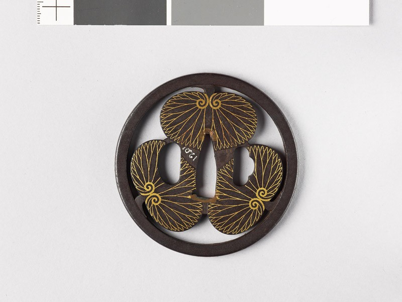 Round tsuba with three aoi, or wild ginger leaves (EAX.10160, front           )