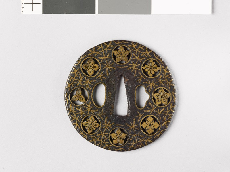 Round tsuba with flowers and water weeds (EAX.10169, front           )