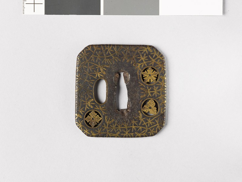 Square tsuba with plants including river-weeds (front           )