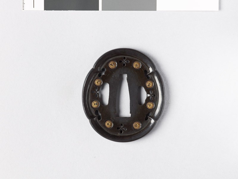 Mokkō-shaped tsuba with chrysanthemums and inome, or heart-shapes