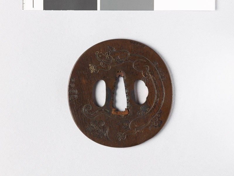 Tsuba with a dragon amid clouds (EAX.10184, front           )