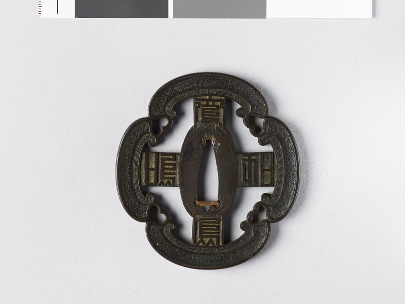 Mokkō-shaped tsuba with cruciform shape and key pattern (EAX.10187, front           )