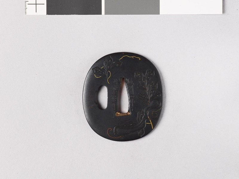 Tsuba with broad bean, leaves, and tendrils
