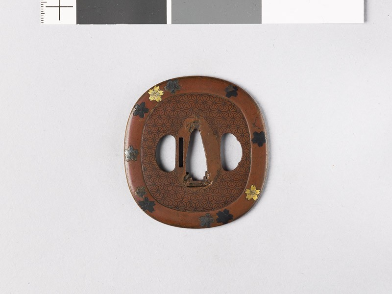 Tsuba with family crests of the Aoyama of Sasyama and the Hosokawa of Higo (front           )